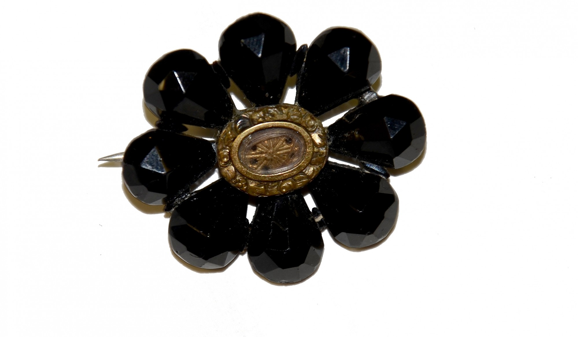 MOURNING BROOCH WITH INSERT FOR HAIR