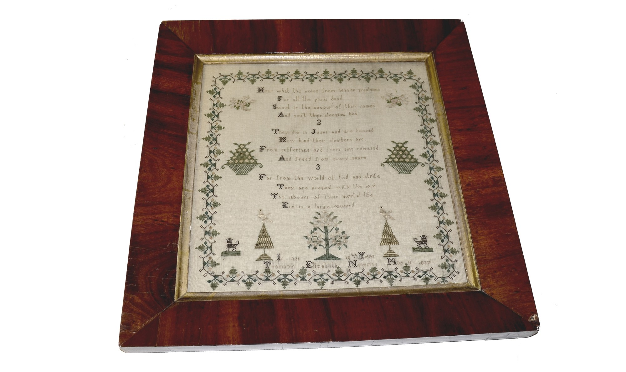 FRAMED CROSS STITCH SAMPLER, DATED MAY 11, 1837 — Horse Soldier