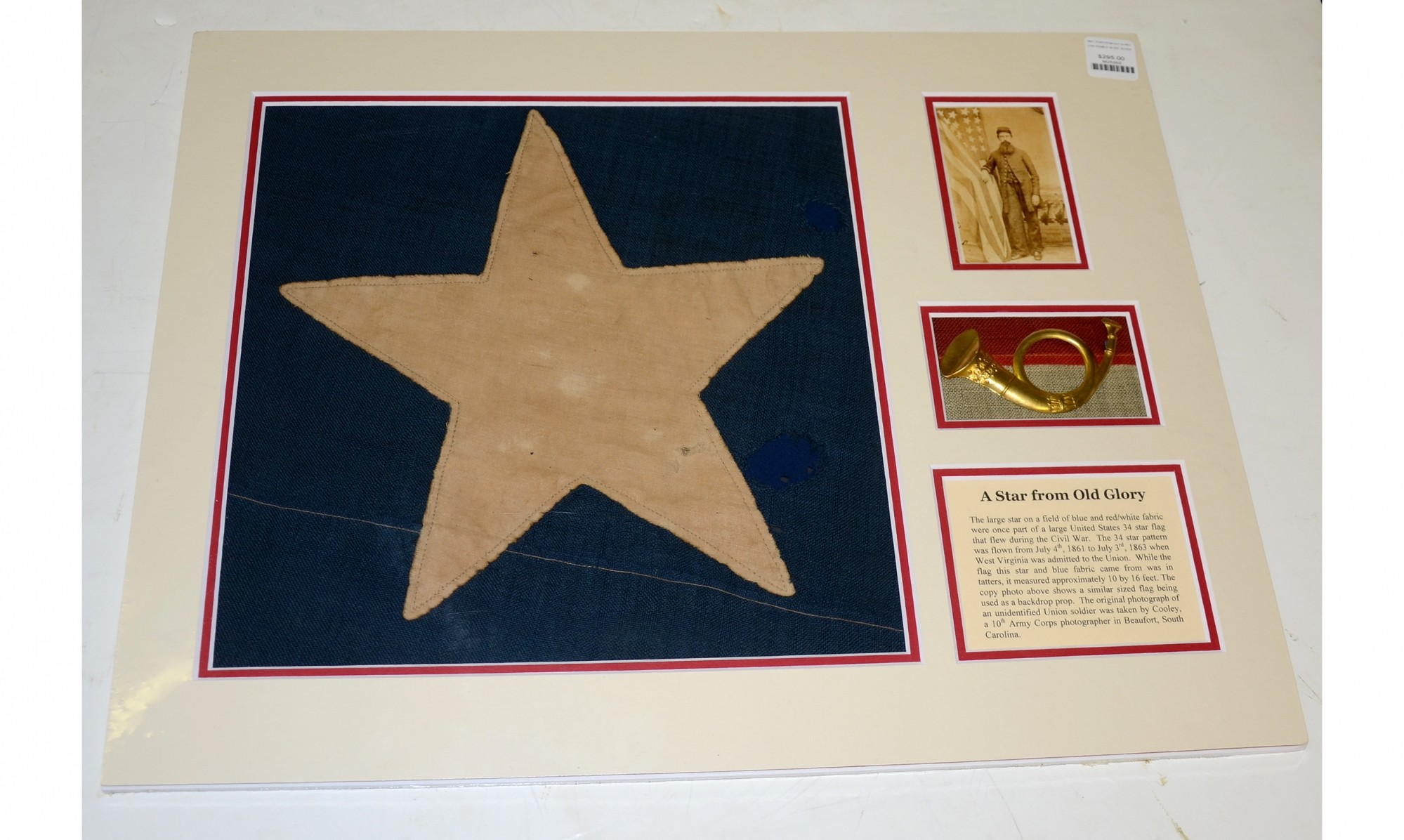 A STAR FROM A CIVIL WAR PERIOD 34 STAR US FLAG, WITH US INFANTRY INSIGNIA