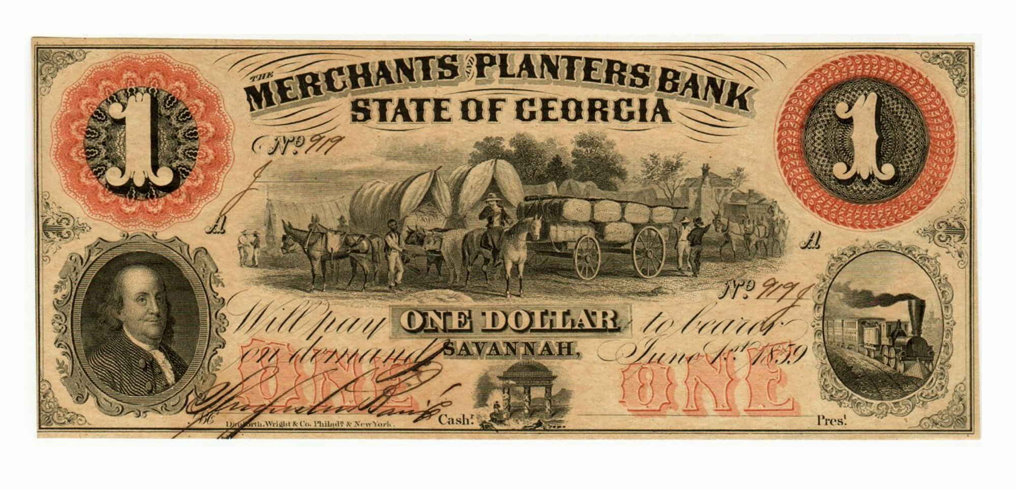 STATE OF GEORGIA MERCHANTS AND PLANTERS BANK $1 NOTE