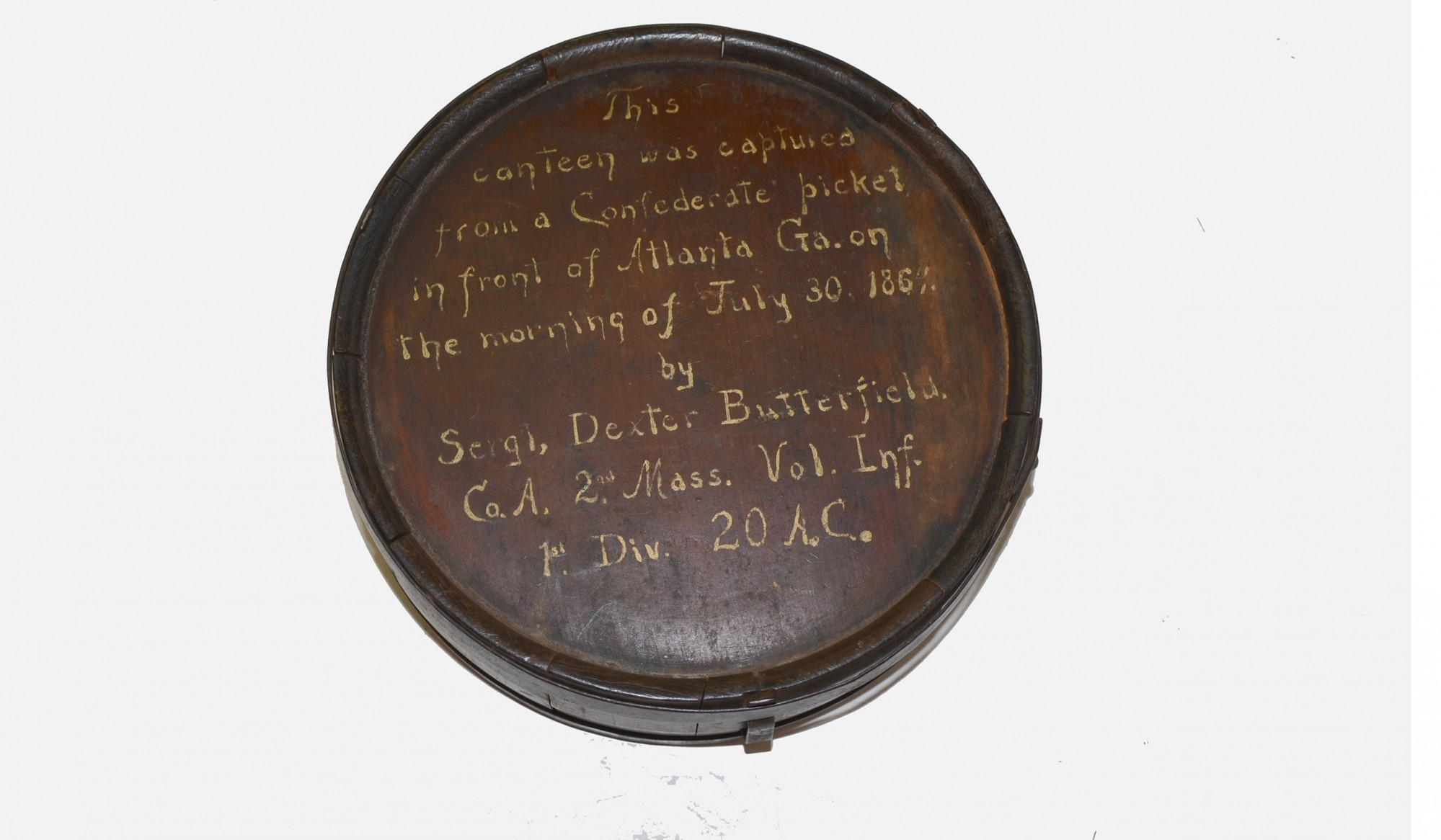FANTASTIC INSCRIBED CONFEDERATE CANTEEN CAPTURED AT ATLANTA
