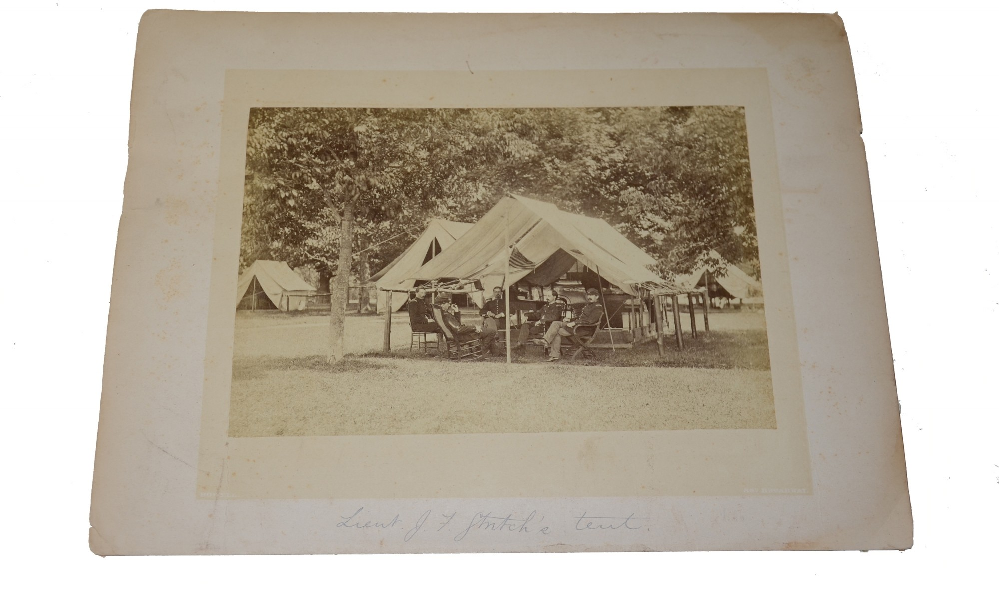 ALBUMEN PHOTO OF OFFICERS IN CAMP