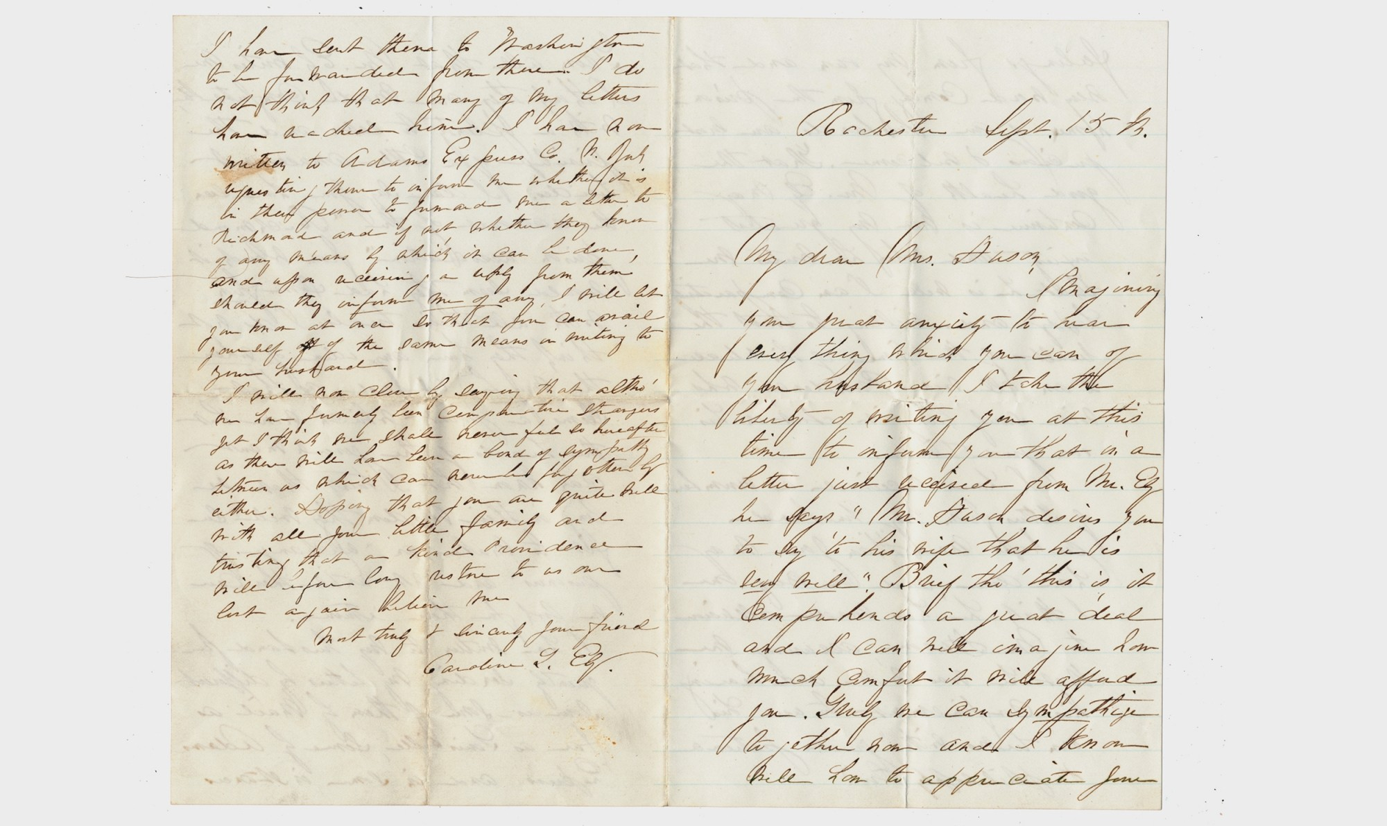 LETTER FROM MRS. ALFRED ELY TO MRS. CALVIN HUSON JR. – PAIR OF POLITICIANS CAPTURED AT 1ST BULL RUN [LIBBY PRISON]