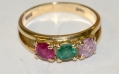14K GOLD RING WITH THREE COLORED STONES