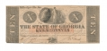 THE STATE OF GEORGIA $10 NOTE – MILLEDGEVILLE, GA
