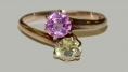 GOLD RING WITH GREEN & PINK COLORED STONES