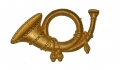 STAMPED BRASS FALSE EMBROIDERED INFANTRY HUNTING HORN INSIGNIA
