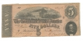 1864 CSA T-69 $5 NOTE FEATURING STATE CAPITOL, RICHMOND