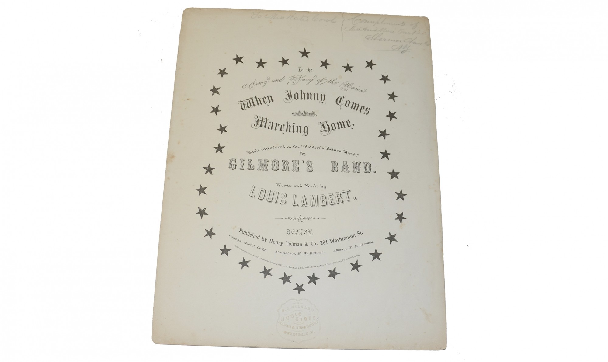 "ORIGINAL SHEET MUSIC FOR THE CIVIL WAR CLASSIC ""WHEN JOHNNY COMES MARCHING HOME"""
