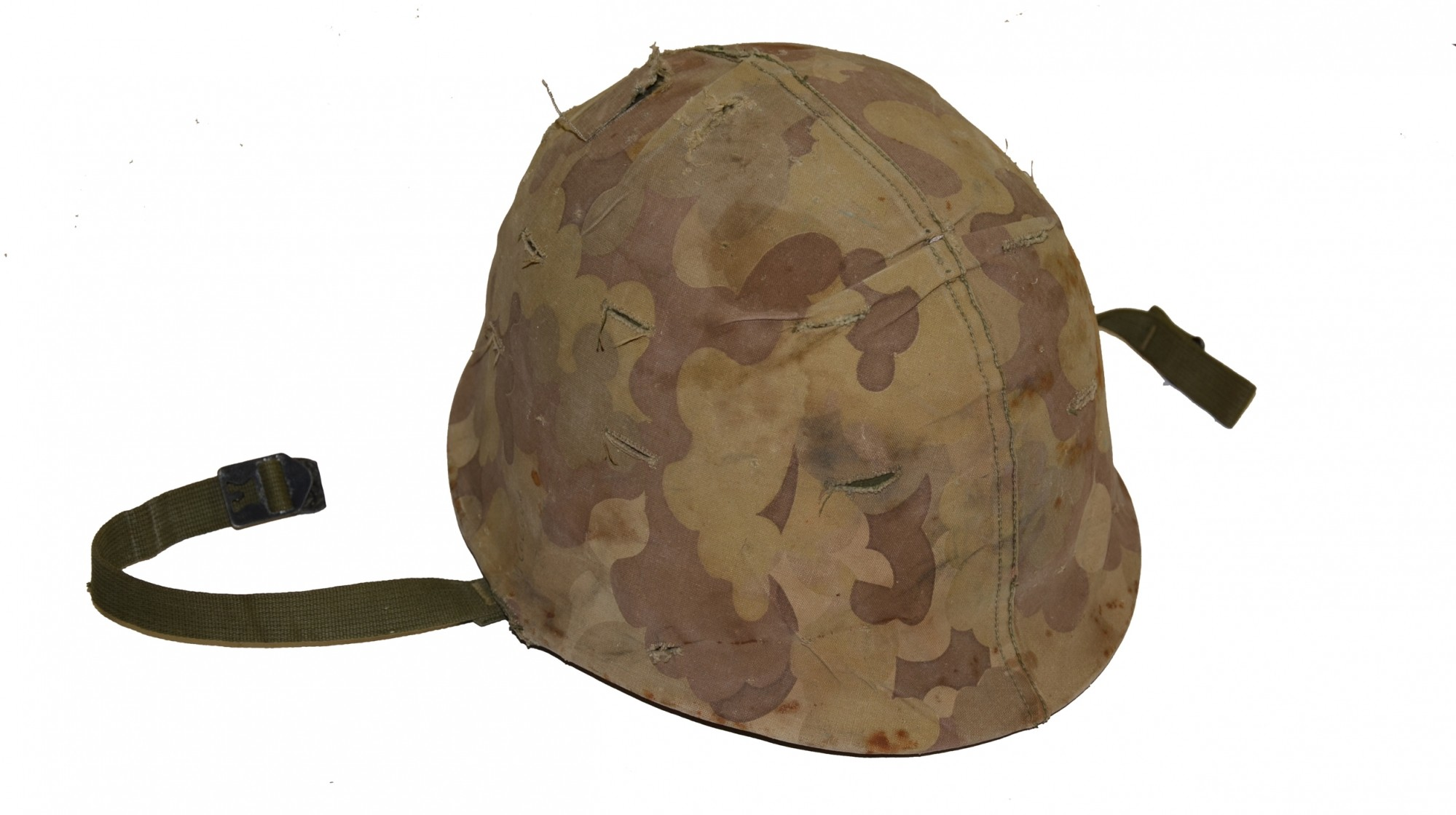 WORLD WAR TWO M1 HELMET WITH POST-WAR COVER & LINER