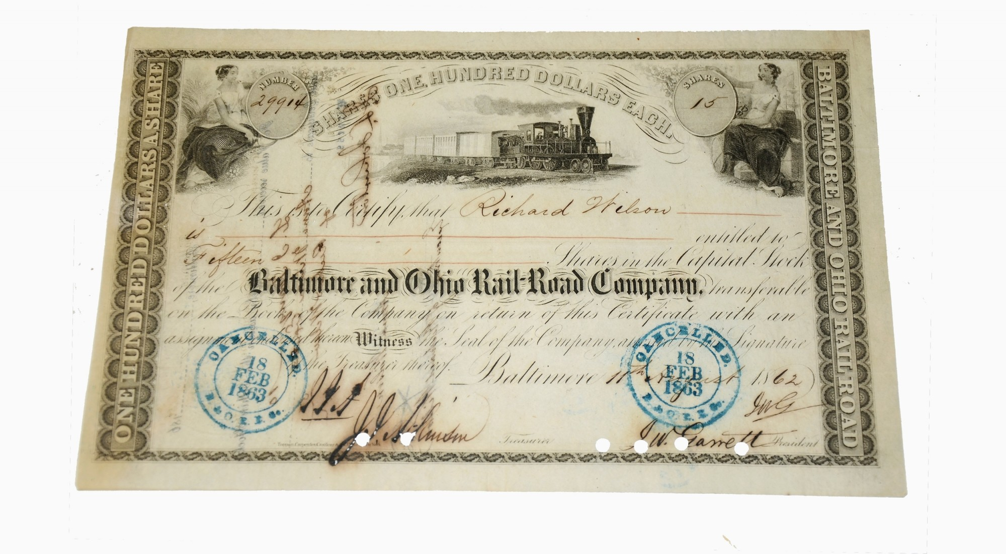 Baltimore And Ohio Railroad Stock Certificate Signed By John W