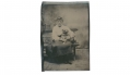 1/8 PLATE TINTYPE  WOMAN WITH A DOG