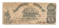 1861 CSA T-18 $20 NOTE FEATURING SAILING SHIP
