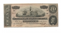 1864 CSA T-67 $20 NOTE FEATURING TENNESSEE STATE CAPITOL & ALEXANDER STEPHENS