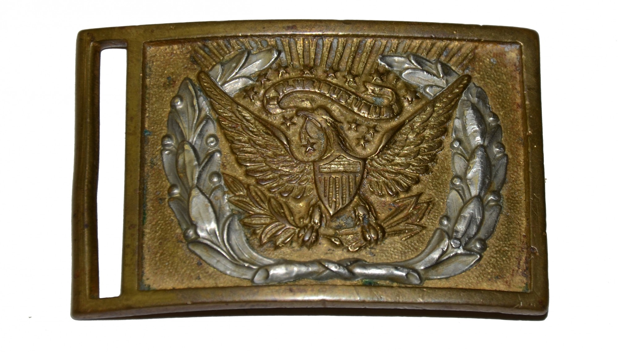 M1851 NCO RECTANGULAR BELT PLATE WITH NICKLE SILVER WREATH