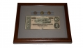 FRAMED TEN DOLLAR C.S. NOTE WITH THREE US EAGLE BUTTONS