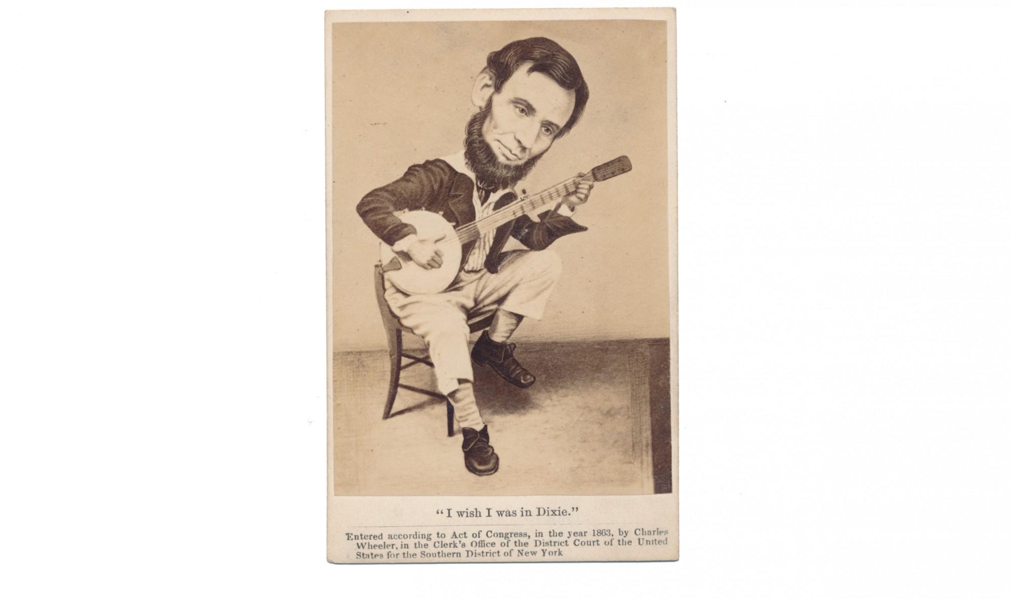 Abraham Lincoln Cartoon Banjo Cdv Horse Soldier