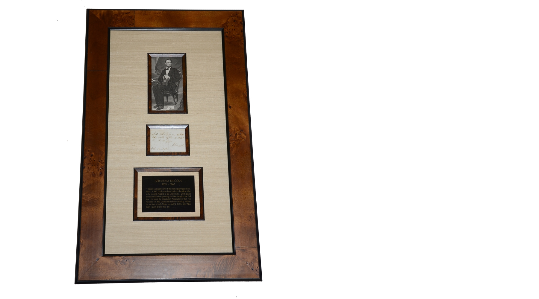 FRAMED LINCOLN ANS (AUTOGRAPH NOTE SIGNED), DATED FEBRUARY 16, 1865