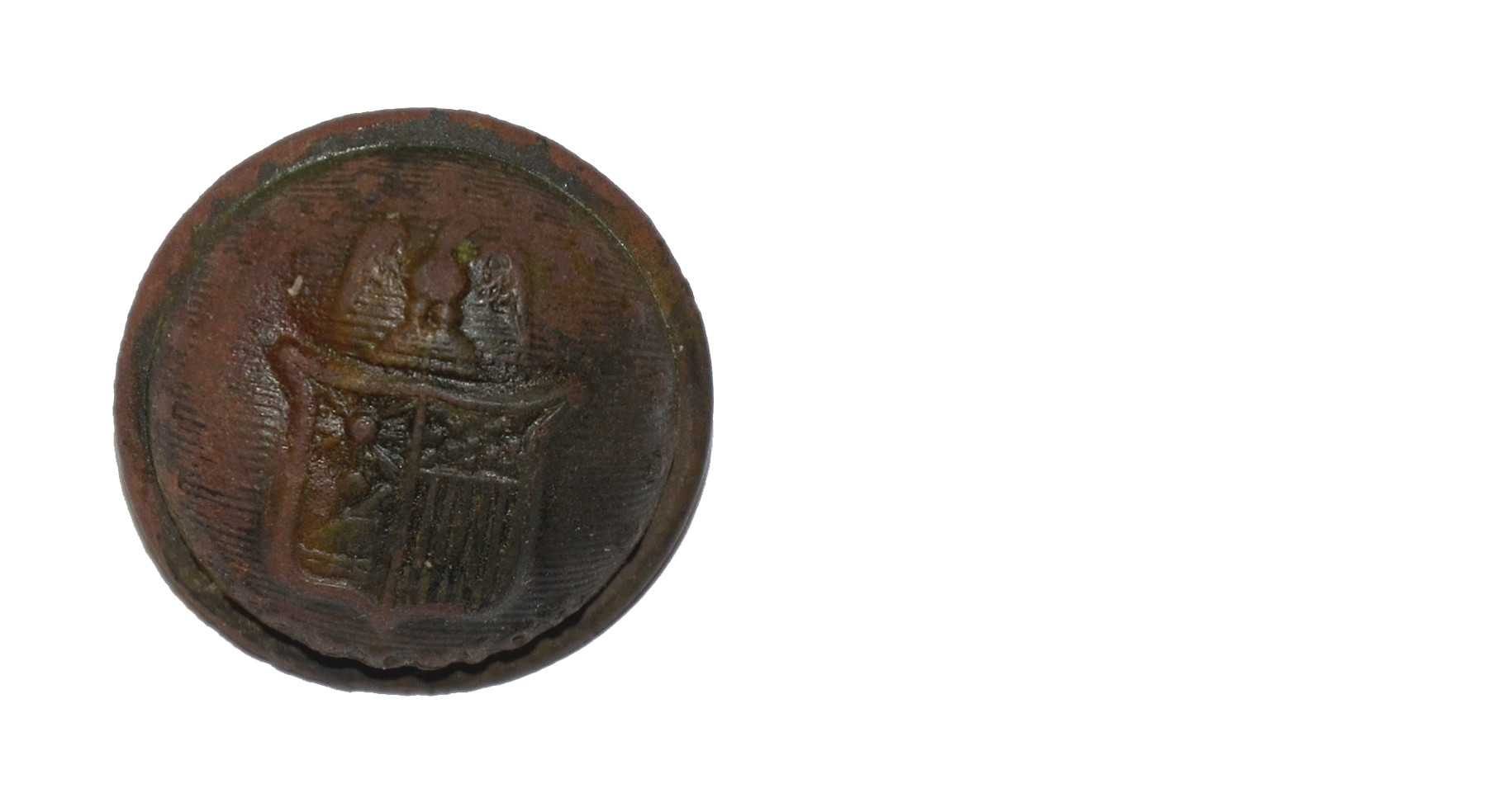 NEW YORK STATE COAT BUTTON RECOVERED ON LITTLE ROUND TOP, GETTYSBURG