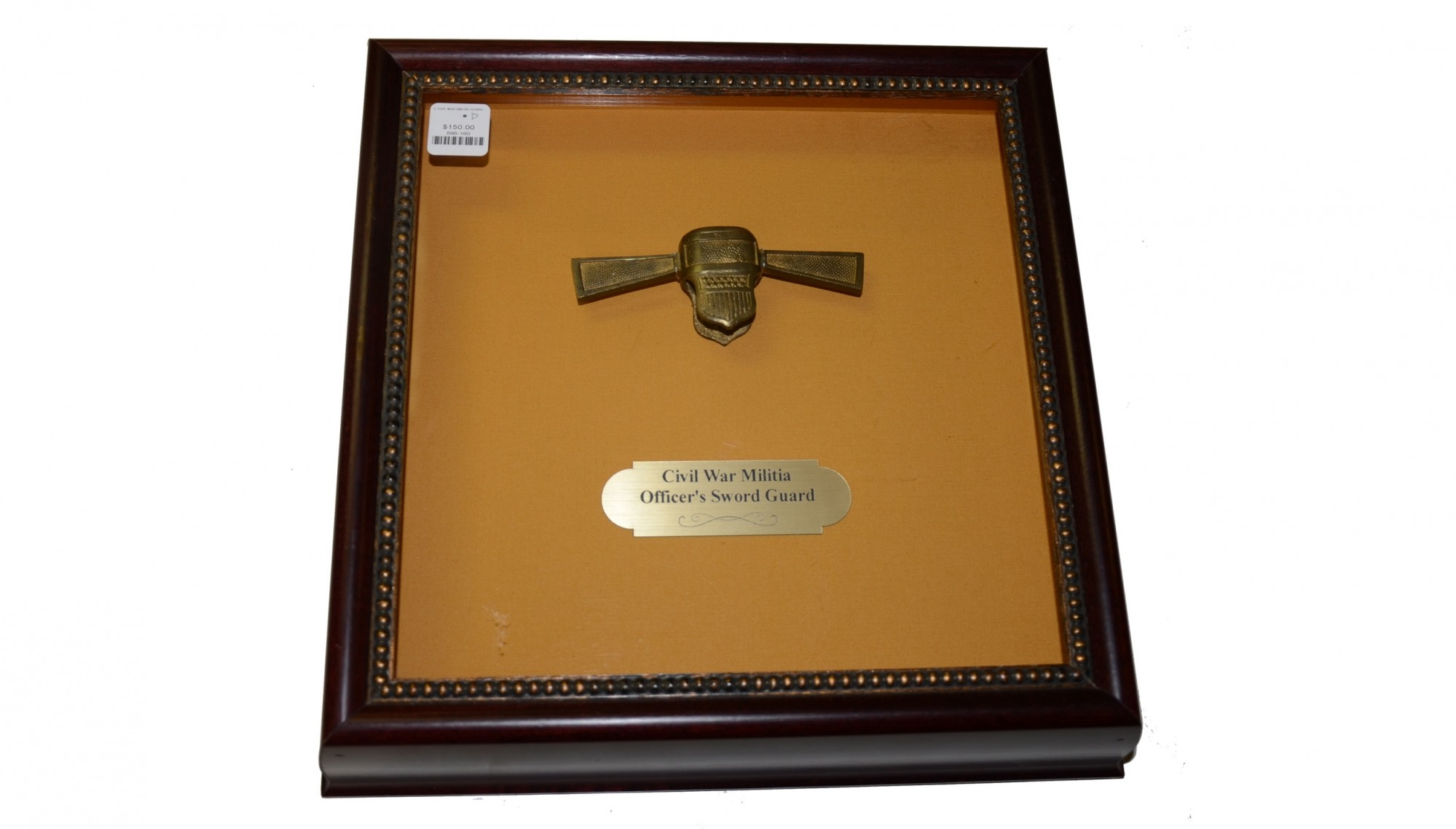 FRAMED BRASS GUARD OF A MILITIA NON-COMMISSIONED OFFICER'S SWORD