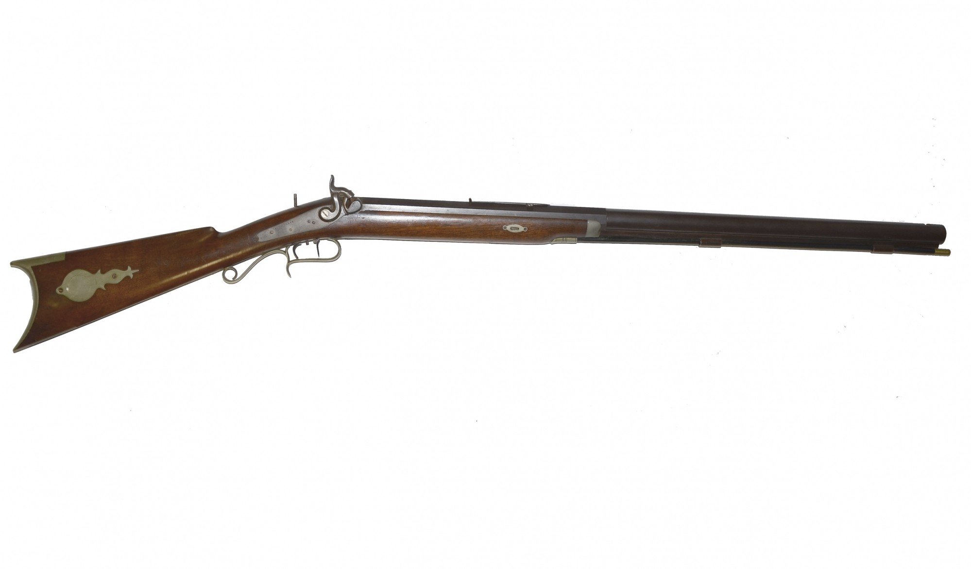LARGE HEAVY BARRELED HALF-STOCK TARGET RIFLE WITH GERMAN SILVER FURNITURE MADE BY AUG. H. PERRY