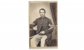 NICELY INSCRIBED CDV OF MASSACHUSETTS SOLDIER WHO SERVED IN TWO REGIMENTS