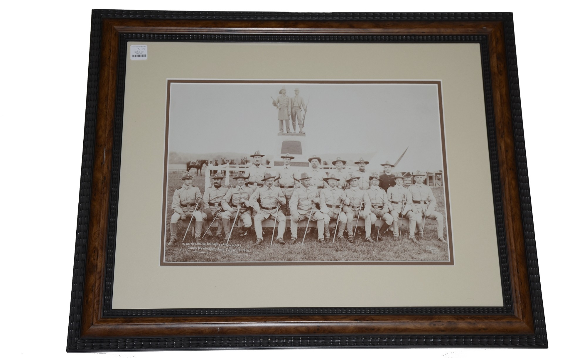 LARGE FRAMED PHOTO OF PENNSYLVANIA NATIONAL GUARD OFFICERS IN EXCELSIOR FIELD, GETTYSBURG