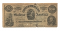 EARLY COPY OF CONFEDERATE $100 NOTE WITH AD ON REVERSE