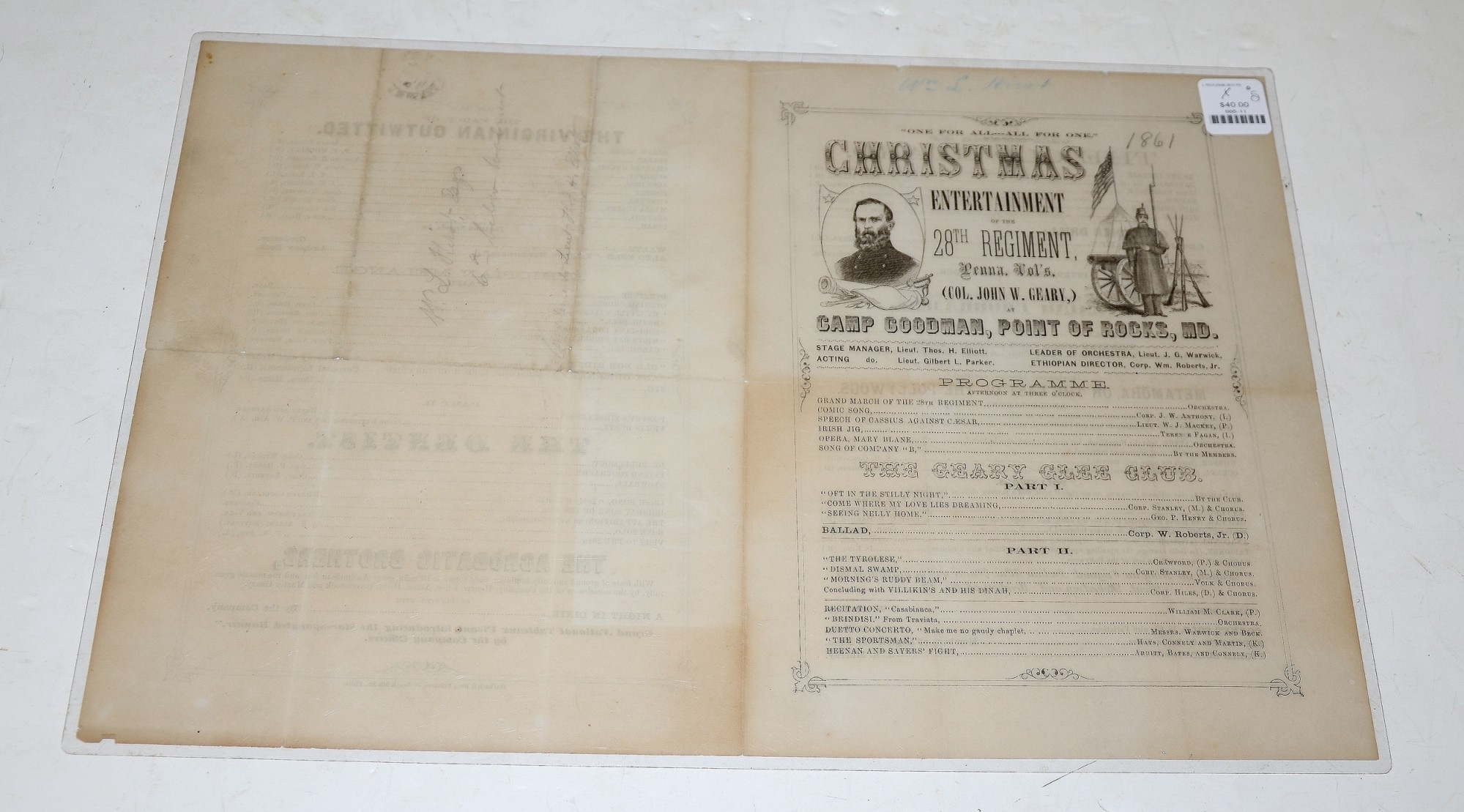 CHRISTMAS PROGRAM FROM 28TH PENNSYLVANIA, 1861
