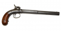 LONG BARRELED ALLEN & THURBER CENTER HAMMER PISTOL