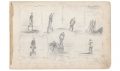 UNDATED FULL PAGE SKETCH OF TYPES OF ARMY PUNISHMENT BY 9TH MASSACHUSETTS BATTERY ARTIST RICHARD HOLLAND