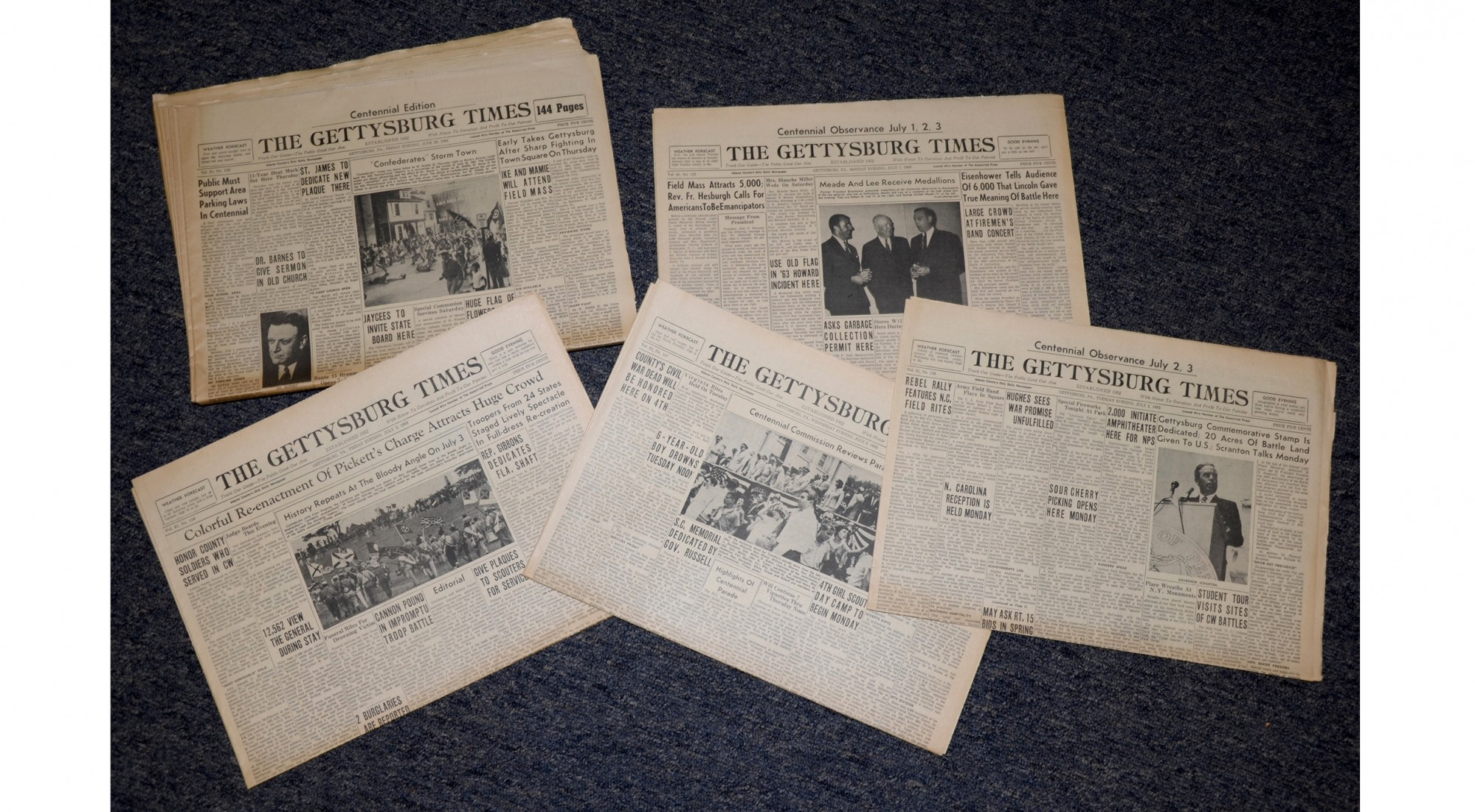 FIVE COPIES OF THE GETTYSBURG TIMES, DATED JUNE 28, JULY 1, 2, 3, & 5, 1963