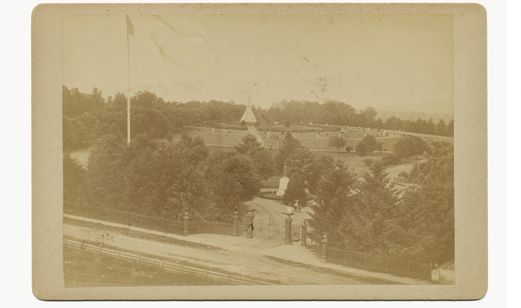 "ELEVATED PHOTO SHOWING NATIONAL CEMETERY AT GETTYSBURG, ""TIPTON'S CANTEEN SERIES"""