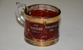 RUBY FLASH GLASS GETTYSBURG SOUVENIR DRUM MUG, 1913