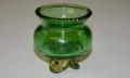 FOOTED GREEN GLASS GETTYSBURG SOUVENIR DISH, 1913
