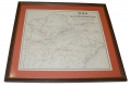 FRAMED CAMPAIGN MAP OF THE 15TH PENNSYLVANIA CAVALRY FROM REGIMENTAL HISTORY