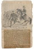 SCRAPBOOK PAGE WITH ORIGINAL CIVIL WAR ARTWORK BY MEMBER OF 1ST MASS. CAVALRY