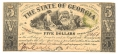 THE STATE OF GEORGIA, GEORGIA, $5 NOTE