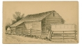 GETTYSBURG SKETCH OF BARN ON TANEYTOWN ROAD WHERE CAPTAIN BIGELOW LAY WOUNDED BY 9TH MASS BATTERY VETERAN & ARTIST RICHARD HOLLAND