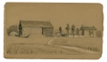 GETTYSBURG SKETCH OF THE SPANGLER FARM BY 9TH MASS BATTERY VETERAN & ARTIST RICHARD HOLLAND