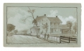 SKETCH OF UNKNOWN HOUSE ON BALTIMORE PIKE WHERE WOUNDED OF THE 9TH MASS BATTERY WERE CARRIED - BY ARTIST & VETERAN OF THE BATTERY, RICHARD HOLLAND