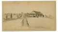 RARE SKETCH OF THE ROGERS HOUSE ON THE EMMITSBURG ROAD GETTYSBURG BY 9TH MASS BATTERY VETERAN & ARTIST RICHARD HOLLAND