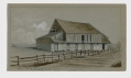 SKETCH OF BARN ON EMMITSBURG ROAD AT GETTYSBURG BY 9TH MASS BATTERY VETERAN & ARTIST RICHARD HOLLAND – POSSIBLY THE LONG GONE ROGERS BARN