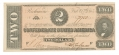 CSA T-70 1864 CONFEDERATE STATES OF AMERICA $2.00 TREASURY NOTE