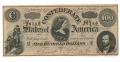1864 CSA T-65 CONFEDERATE STATES OF AMERICA $100.00 TREASURY NOTE
