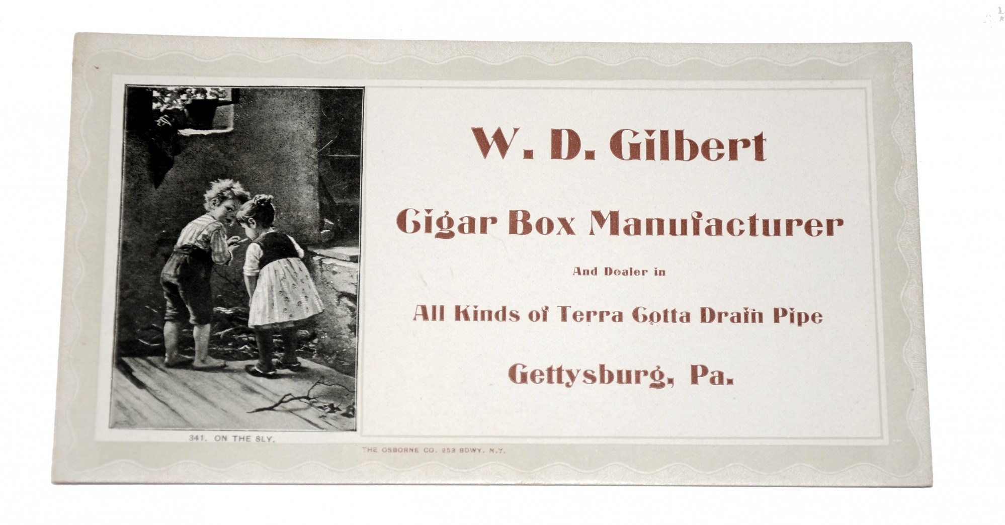 GETTYSBURG ADVERTISING CARD AND BLOTTER