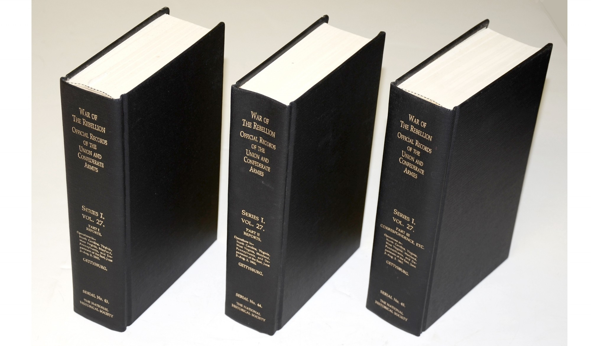THREE VOLUME SET OF GETTYSBURG OFFICIAL RECORDS