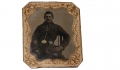 IDENTIFIED 1/6 PLATE TINTYPE OF UNION SOLDIER – JOSEPH COURTIS, 1ST MASSACHUSETTS HEAVY ARTILLERY