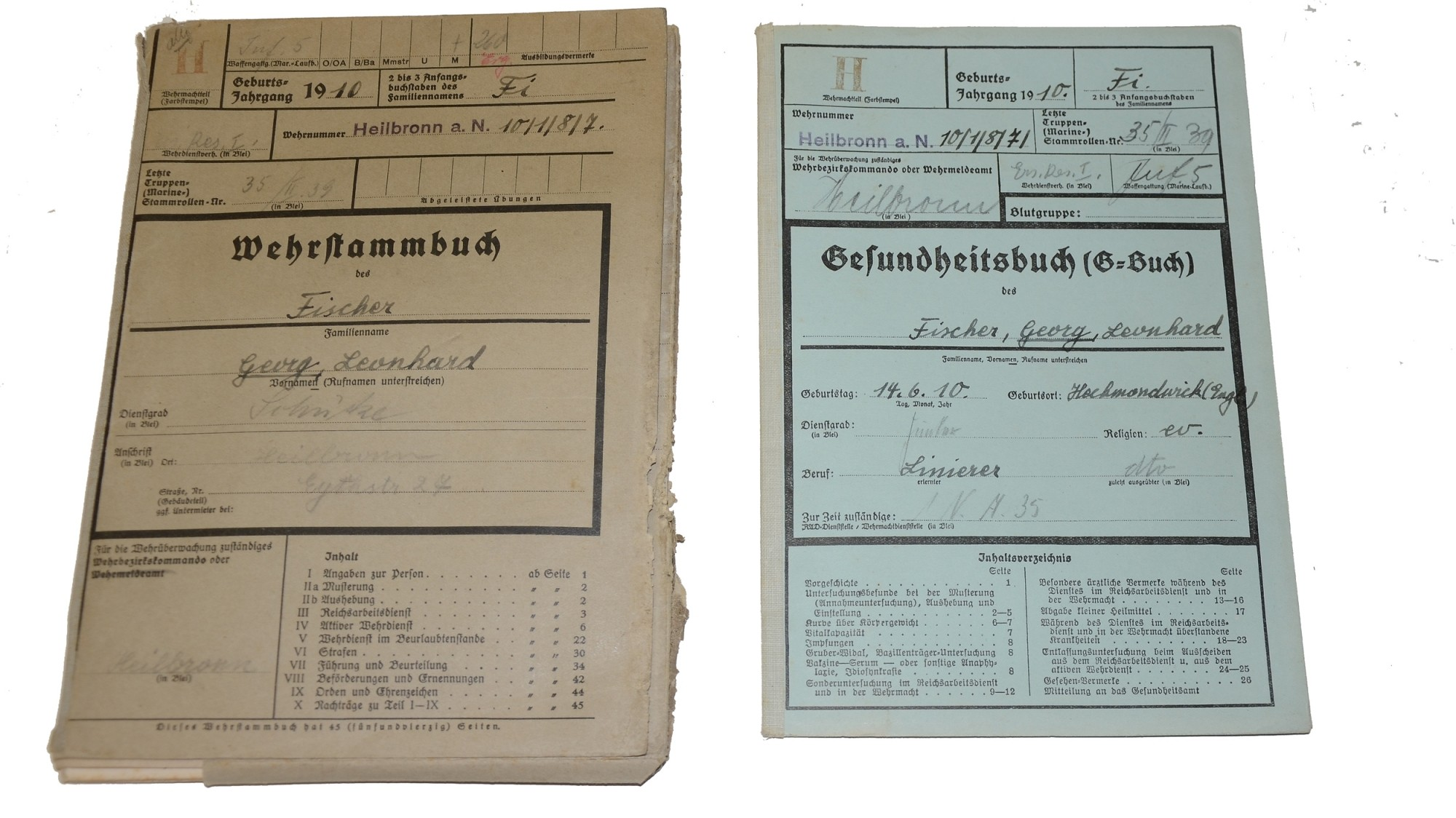 MILITARY AND HEALTH RECORDS FOR WORLD WAR TWO GERMAN SOLDIER WHO FOUGHT AT DUNKIRK