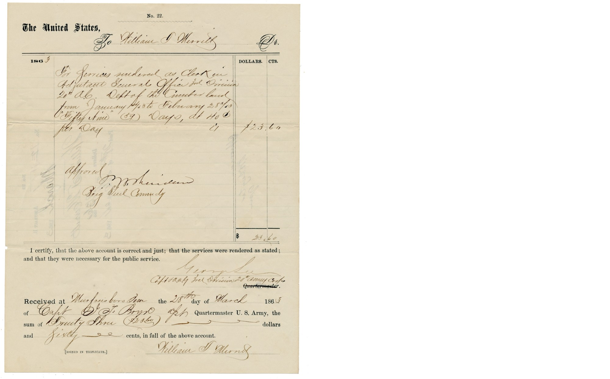 UNION GENERAL PHILIP H. SHERIDAN WAR-DATE SIGNED DOCUMENT